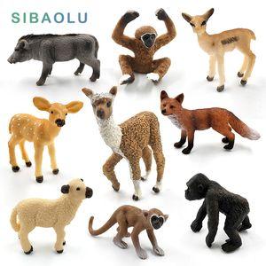 Simulation figurine modèle animal mignon Mini alpaga Warthog Chimpanzé moutons cerf Antelope singe jouets de décoration de fées Gibbon