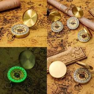 Portable Brass Pocket Compass Camping Hiking Fluorescence Compass Navigation Camping Tools Christmas Gift Party Favor ZZA2784