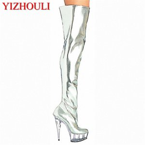 """hot sale and retail over the knee silver patent leather women's 6"""" thigh high boots sexy motorcycle boots 15cm clear Dance Shoes"""
