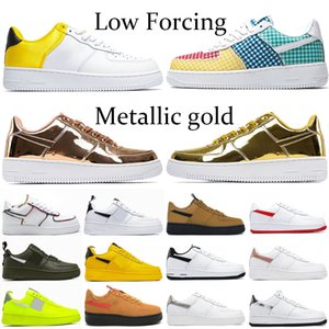 2021 Forçar ouro branco metálico de prata silenciado tênis de basquete de bronze Low amarillo universidade preta cetim vermelho gingham pacote homens mulheres corredor