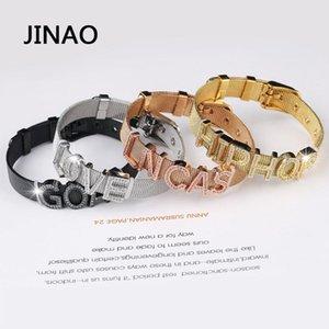 JINAO 새로운 힙합 CZ 편지는 이름을 가진 스타와 하트 큐빅 지르콘 보석 남성 선물 팔찌