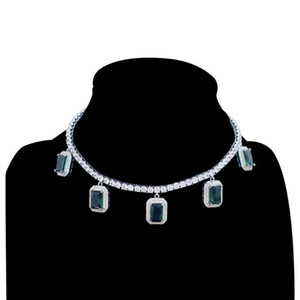 Hiphop Bling Iced Out Tennis Cubic Zirconia Chain With Green Red stone Necklaces Gold Color Women Chain Fashion Jewelry