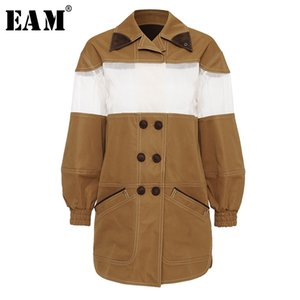 [EAM] Loose Fit Khaki Mesh Split Joint Temperament Jacket New Lapel Long Sleeve Women Coat Fashion Tide Spring 2020 1U864
