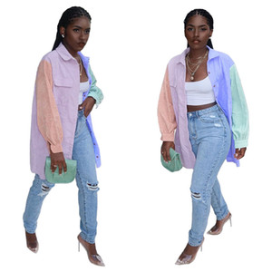 Contrast Color Women Blouses Casual Long Sleeve Single Breasted Loose Blouse Top Fashion Women Designer Clothes