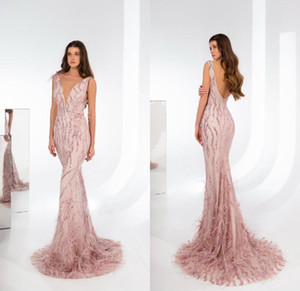 Luxury Mermaid Beaded Evening Dresses Sexy V Neck Backless Prom Dress with Feather Arabic Formal Party Gowns Robe De Soiree