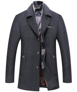 Schlank Einreiher Herren Wolle Mäntel beiläufige Taschen-Männer Kleidung Panelled Herren Designer Woll Jacken Mode