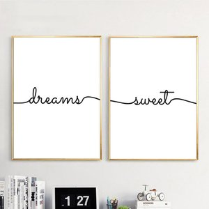Black White Quotes Wall Picture Painting Canvas Poster Minimalist Dreams Sweet Wall Art Canvas Print Modern Home Decor CH111