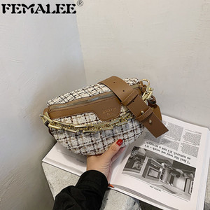 New Retro Letters Hit Color Crossbody Bags Chest Pocket France Style Vintage Waist Bag Female Golden Chain Travel Tweed Handbag
