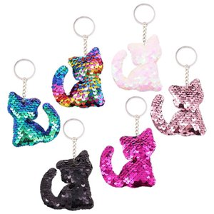 12pcs Cat Keychains Colorful Sequins Glitter Key Holder Keyring Key Chain For Car Key Cellphone Tote Bag Handbag Charms