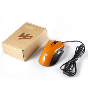 5D 250-4000 DPI 5V 100mA 4 Buttons LED USB Port Interface Wired Optical Gaming Mouse Black White Orange