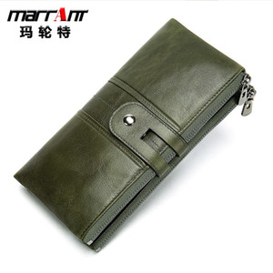 Rfid anti-magnetic retro leather wallet long men and women hand bag multi-function wallet custom wallet tide