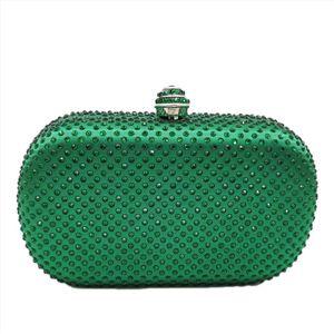 Double Women Crystal clutch bag Satin Evening Bags Diamond Wedding Handbags and Purses Blue Yellow Green