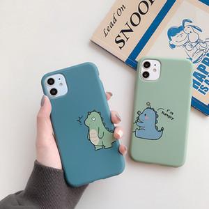 Caso molle sottile Cute Cartoon Coppia dinosauro copertura di iPhone per 11 pro caso Max X Xs XR 8 Plus SE silicone Soft Phone
