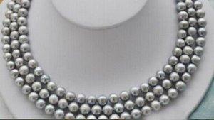 """8-9mm collar de perlas naturales gris 17-19"""" caliente 3row broche amarillo"""