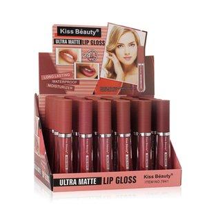 Velvet Lip Gloss Водонепроницаемый Non-Stick Cup Long-Lasting Натуральный матовый Nude Жидкая помада для губ Глазурь шикарными темпераментом Очаровывающего