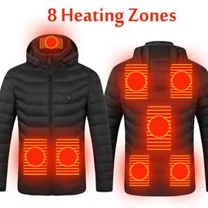 2021 Yükseltme 8 Isıtma Bölgeler Erkek Kadın Isıtmalı açık yelek USB Elektrik Isıtmalı Kapşonlu Uzun Kollu Ceket Termal Giyim Kayak