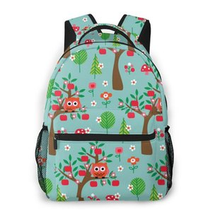 Women fashion backpack male travel backpack mens bag large laptop shopping travel bag Spring Owls And Trees