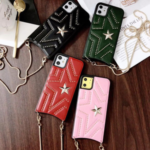 PU Leather Crossbody Case For iPhone 11 Pro Max X XR XS Max 3D Stars Shoulder Bag Long Chain Women Pink Phone Case For 7 8 Plus