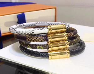 Louis Vuitton monogram Moda amor 19 centímetros Louis pulseiras de couro manter por Homens Mulher Designers bloqueio Casais V pulseira flor que Bracelet padrão de jóias 8OBp #