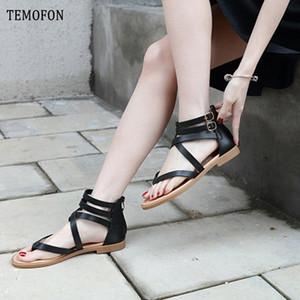 TEMOFON 2020 Yaz Ayakkabı Düz Gladyatör Sandalet Kadınlar Retro Peep Toe Deri Düz Sandalet Plaj Günlük Ayakkabılar Bayanlar HVT1054 c3M5 #