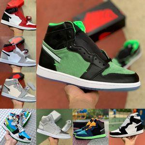 2021 WHITE x Nike Air Jordan 1 1S Chicago OFF pallacanestro Scarpe Uomo Donna serpente Satin Tie Dye MOCHA Chicago ZOOM ZEN VERDE Varsity Red nuovo amore UNC brevetti