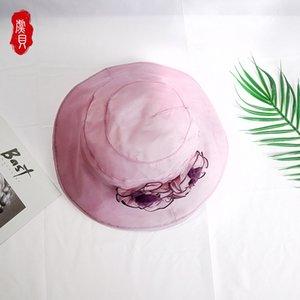 Real de seda Sunscreen Balde flor rosa Casual Hat Verão Mulheres Largo Sun Cap Brim menina dobrável seda natrual Hat luz com corda