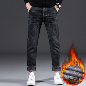 2020 New Men's Winter Warm Loose Jeans Classic Style Business Casual Dark Black Denim Elasticity Thick Pants Plus Size 44 46,926