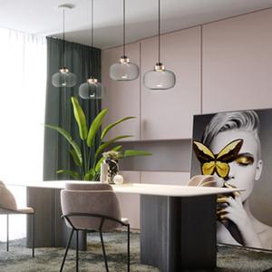 Nordic Smoke Gray Glass LED Pendant Lights Lighting Light Luxury Living Room Bedroom Bedside Hanging Lamp Decor Light Fixtures