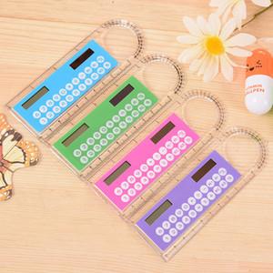 10 Couleurs Mini portable Calculatrice énergie solaire Creative multifonction Règle étudiant Règle Calculatrice cadeau de Noël en plastique