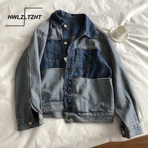 HWLZLTZHT Patchwork Lady Denim Ceket Vintage Jeans Coat Sevgilisi Stil Harajuku Streetwear Pamuk Moda Ceket