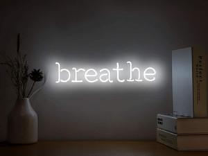 Neon İşaretler Işık Işıklar neon Duvar Duvar Yatak Odası Partisi Ücretsiz Nakliye için Beyaz Neon Light Sign Kelimeler Asma Breathe