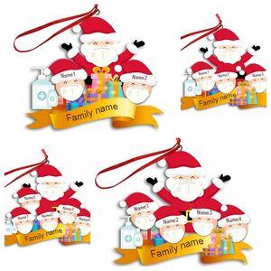 Survived Family Ornament 9 Styles Resin Christmas Tree Ornaments 2020 Xmas Mask Snowman Pendant Christmas Decorations CCA12555 50pcs
