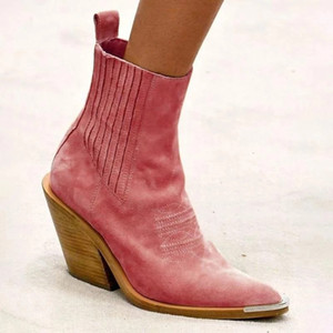 Wind 2019 Autumn And Winter New Fashion High Heel Pointed 40-43 Size Low Boots for Women 0909 Boots Metal Toe Apricot Brown Male