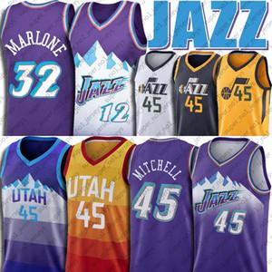 Donovan 45 Mitchell maglie UtahJazzJersey John Stockton 12 Jersey Karl Malone 32 maglie da basket Vintage Jersey