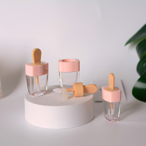 5ml Ice Cream Shape Empty Lip Gloss Tubes, Pink Color, Lip Glaze Lipstick Lipgloss Packaging, Lip Care Tools