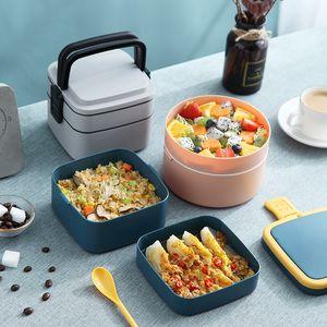 Mais barato portátil lancheira Student Box PP microondas isolados 2 camadas recipiente almoço recipientes escola piquenique armazenamento do escritório Food GWF1765