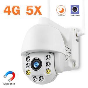5 배 줌 4G 보안 카메라 야외 1080P HD 3G SIM 카드 IP 카메라 스피드 돔 PTZ CCTV P2P 비디오 감시 CamHi APP