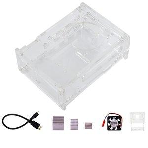 pour Raspberry Pi 4B Acrylic Case et appareil photo Case, dissipateur de chaleur, ventilateur de refroidissement, Micro-Hdmi Pour adaptateur de câble hdmi Pi 4 B Accessoires Kit