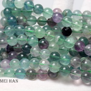 Meihan wholesale Natural 6mm 8mm 10mm 12mm charms colorful fluorite smooth round beads stone for jewelry making design
