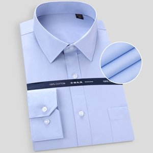 High Quality Non-ironing Men Dress Long Sleeve Shirt 2020 New Solid Male Plus Size Fit Business Shirts White Blue T200914