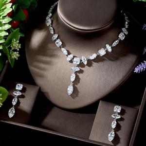 HIBRIDE últimos pendientes Diseño y collar de la joyería para la joyería de las mujeres de lujo CZ de las mujeres Conjunto Partido Accesorios N-1286