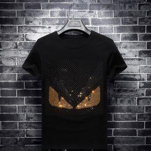 Летняя одежда мужская мода бренд горячей бурения футболка с коротким рукавом мужская шею половина рукав Корейский стиль социальный парень большой размер базы