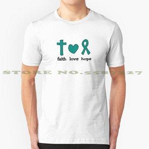 믿음 사랑 희망 - 난소 암 인식 - 청록 그래픽 사용자 정의 재미 뜨거운 판매 t- 셔츠