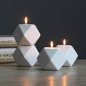 4 Colors Ceramics Candle Holder Molds Multilateral Geometric Ceramics Candlestick Home Crafts Decorations Candle Holder Molds DHC1734