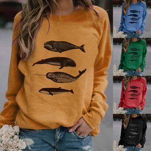 Women's Casual Print Sweatshirts Thermal Crewneck Long Sleeve T-Shirts Loose Com women clothes C200919
