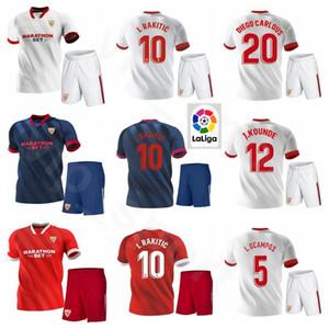 Севилья FC 20 21 Севилья Футбол 15 Юсеф En-Nesyri Джерси Set 10 Ever наборы рубашка Banega 9 Люк де Йонг Franco Vazquez Футбол