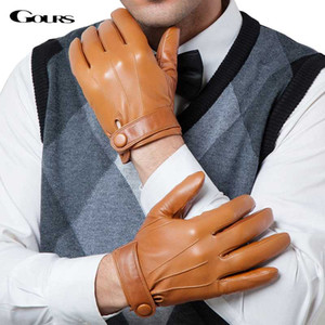 Gours invernali Guanti in pelle genuino degli uomini di nuova marca di capra del nero di modo di guida Touch Screen Gloves Mittens capra GSM036