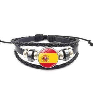 Bracciale Bandiera nazionale Punk con vetro Cabochon Spagna Europa Paese Nazionale bandiera pulsante Genuine Leather Jewelry Charm Bracelet
