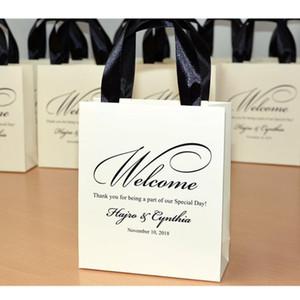 Personalisierte Elfenbein-Hochzeit Welcome Bags mit Satinband und Ihren Namen Elegant danke Taschen für Hochzeitsbevorzugung für Gäste