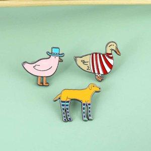 Sevimli karikatür kümes hayvanları civciv ördek yavrusu köpek yavrusu broş rozeti emaye pin yaka elbise çantası kadın erkek takı hediye